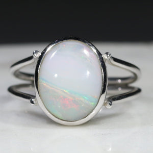 Natural Australian White Opal Silver Ring - Size  5