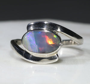 Natural Australian Opal Silver Ring - Size 7
