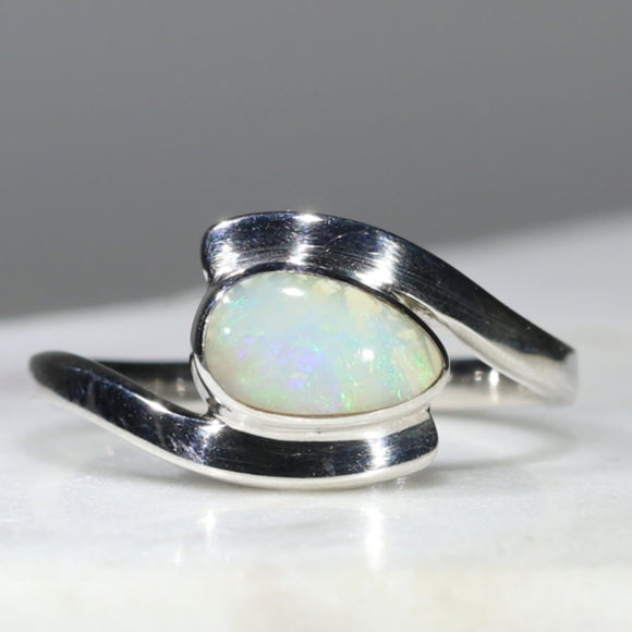 Natural Australian White Opal Silver Ring - Size 8
