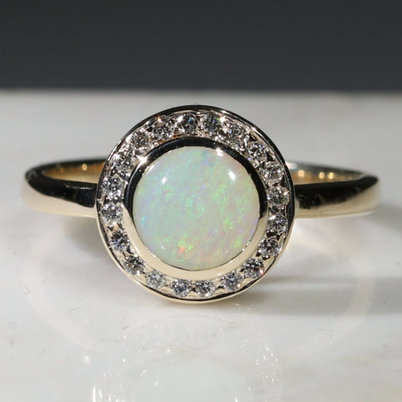 Australian Solid White Opal and Diamond Gold Ring - Size 7