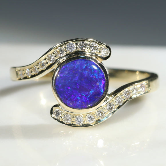 Natural Australian Boulder Opal and Diamond  Gold Ring Size 7