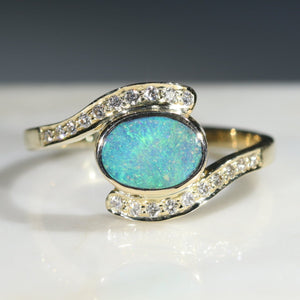 Natural Australian Boulder Opal and Diamond  Gold Ring Size 8.25