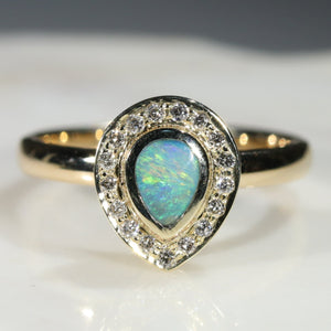 Natural Australian Boulder Opal and Diamond  Gold Ring Size 6.5