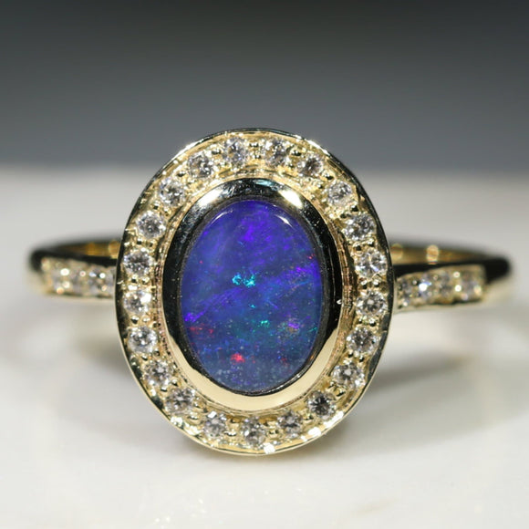 Natural Australian Boulder Opal and Diamond  Gold Ring Size 8