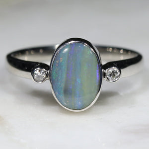 Australian Solid Boulder Opal and Diamond Silver Ring - Size 7.5 Code - RS9