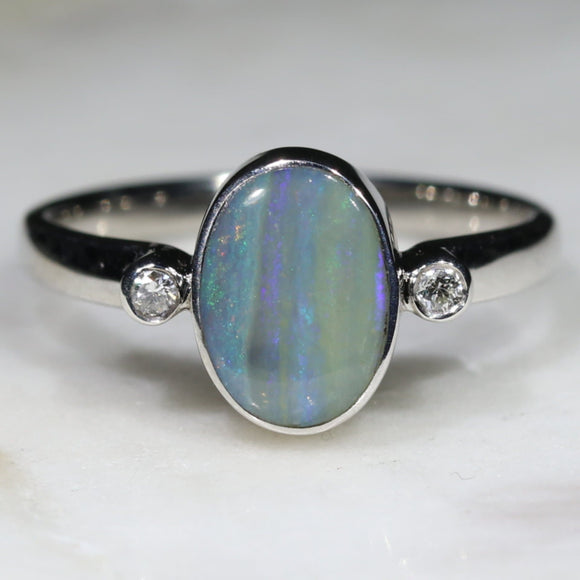 Australian Opal and Diamond Ring