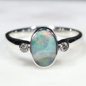Australian Solid Boulder Opal and Diamond Silver Ring - Size 6.25 Code - SR7