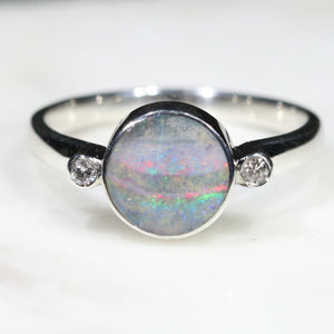 Round Opal Ring With Diamonds