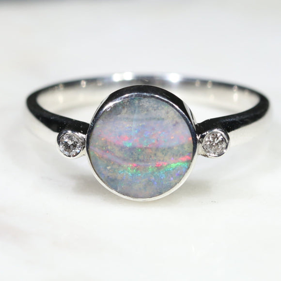 Australian Solid Boulder Opal and Diamond Silver Ring - Size 8