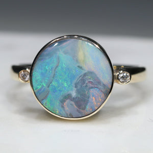 Natural Australian Boulder Opal and Diamond Gold Ring  - Size 10.25 Code -GR777
