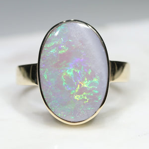 Natural Australian Opal with Flashes of Green Gold Ring - Size 6.75