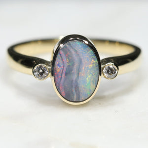 Natural Australian Boulder Opal and Diamond Gold Ring  - Size 6.75