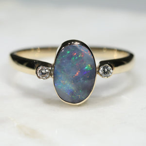 Natural Australian Boulder Opal and Diamond Gold Ring  - Size 8.5