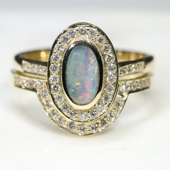 Natural Australian Opal and Diamond Gold Engagement and Wedding ring Set - Size 7.25