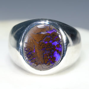 Natural Boulder Opal Matrix Mens Silver Ring -Size 10.25