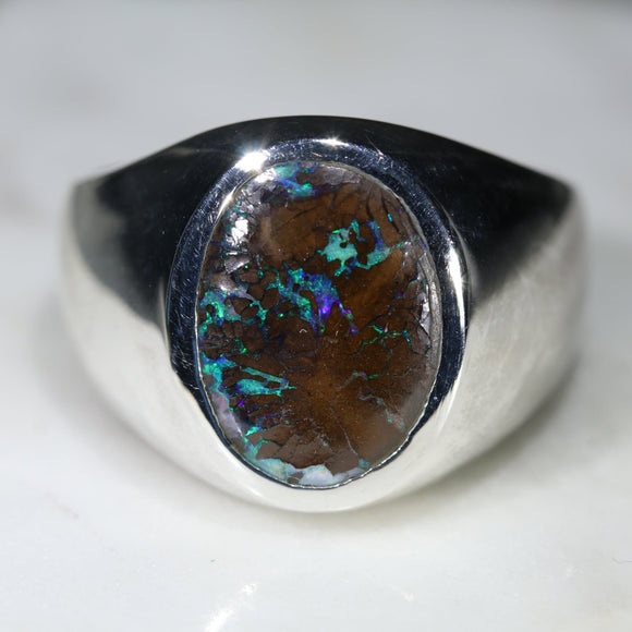 Natural Boulder Opal Matrix Mens Silver Ring -Size 9.5