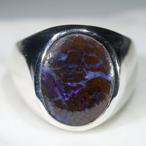 Natural Boulder Opal Matrix Mens Silver Ring -Size 9 Code-SM53