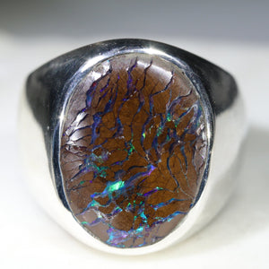 Natural Boulder Opal Matrix Mens Silver Ring -Size 10.5