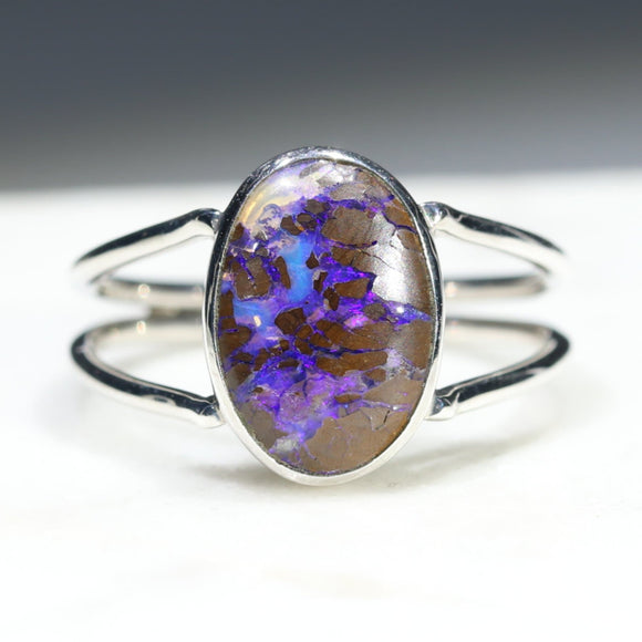 Australian Solid Boulder Opal Matrix Silver Ring - Size 8.25 Code - RS12