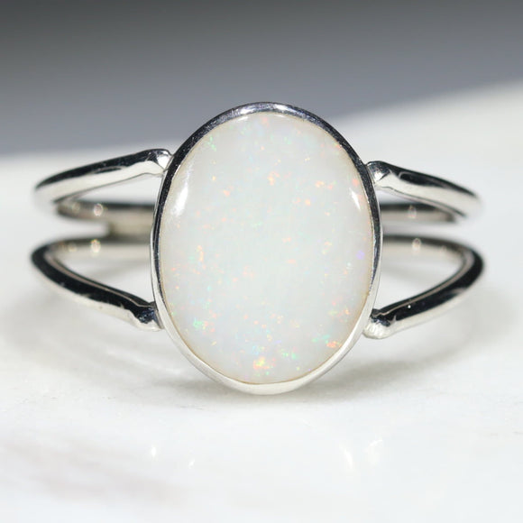 Australian Solid White Opal Silver Ring - Size 7.75