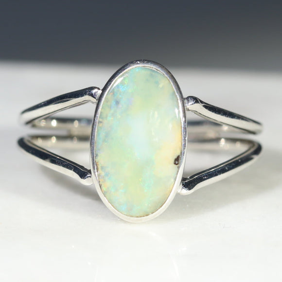 Australian Solid Boulder Opal Silver Ring - Size 7.75