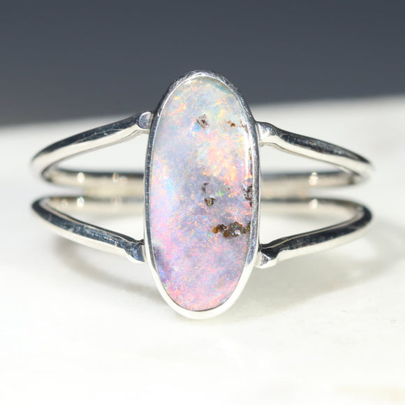Australian Solid Boulder Opal Silver Ring - Size 8