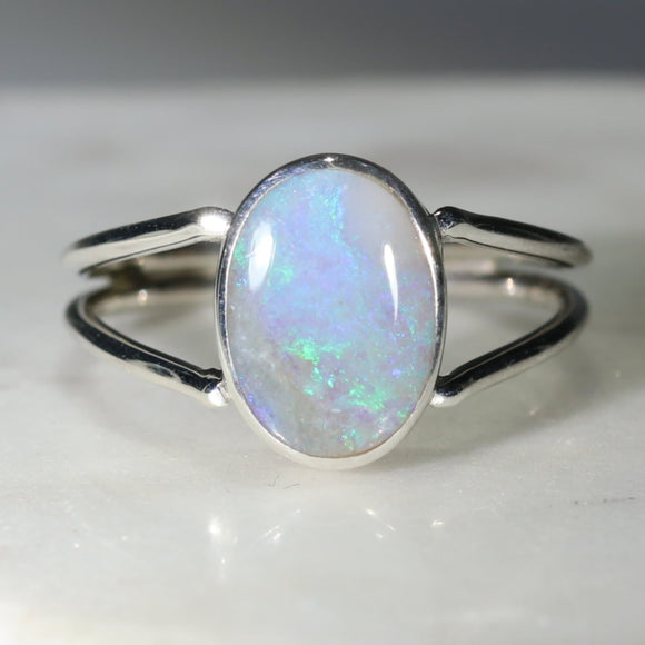 Natural Australian Solid  Opal Silver Ring - Size 7