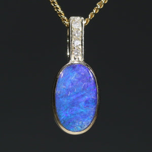 Boulder Opal and Diamond Gold Pendant Code -GPA148 WA