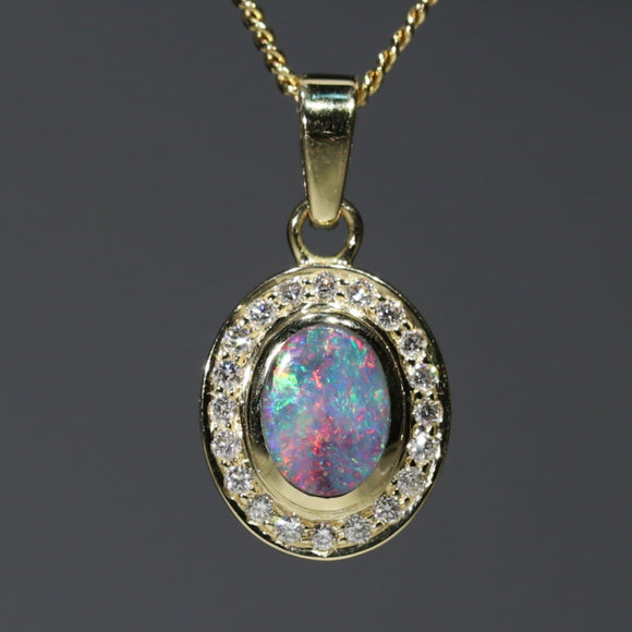 Natural Australian Boulder Opal and Diamond 18K Gold Pendant Code -PL42