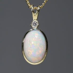 Australian White Opal and Diamond 18K Gold Pendant Code -PL43 Sydney