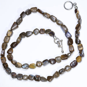 "Boulder Opal 19"" Long, Beaded Necklace Code-No104"