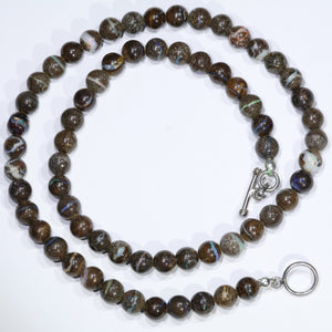 "Boulder Opal 19"" Long, Round Beaded Necklace"