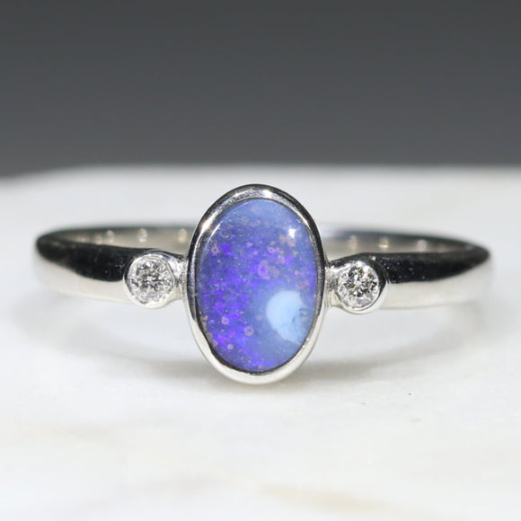Australian Solid Boulder Opal and Diamond Silver Ring - Size 7.75 Code - SRD53