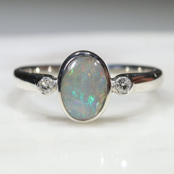Australian Solid Boulder Opal and Diamond Silver Ring - Size 5.75
