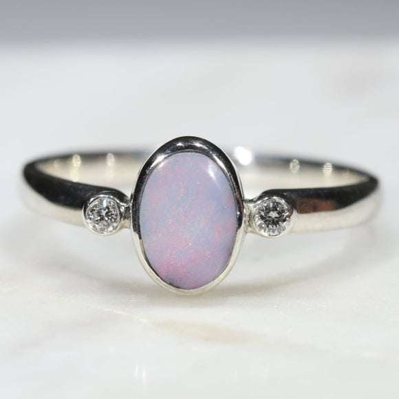 Australian Solid Boulder Opal and Diamond Silver Ring - Size 7.75 Code - SRD48