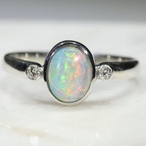 Natural Opal and Diamond Ring