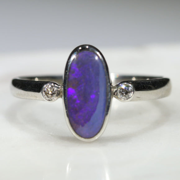 Australian Solid Boulder Opal and Diamond Silver Ring - Size 7.5 Code - SRD49