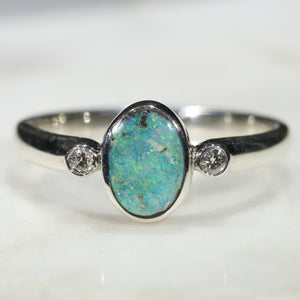 Australian Solid Boulder Opal and Diamond Silver Ring - Size 7.5 Code - SRD58