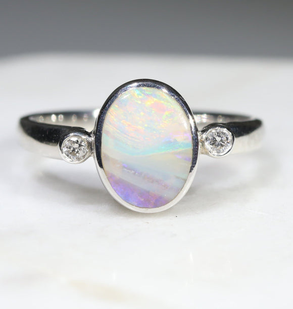 Australian Solid Boulder Opal and Diamond Silver Ring - Size 6