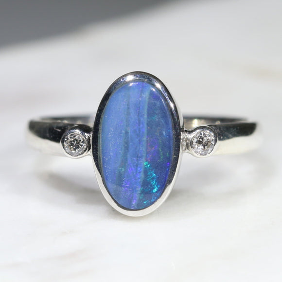 Australian Solid Boulder Opal and Diamond Silver Ring - Size 6 Code - RSD46