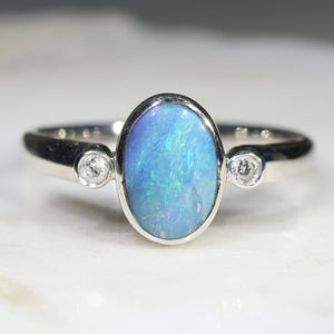Australian Solid Boulder Opal and Diamond Silver Ring - Size 6 Code - SRD55