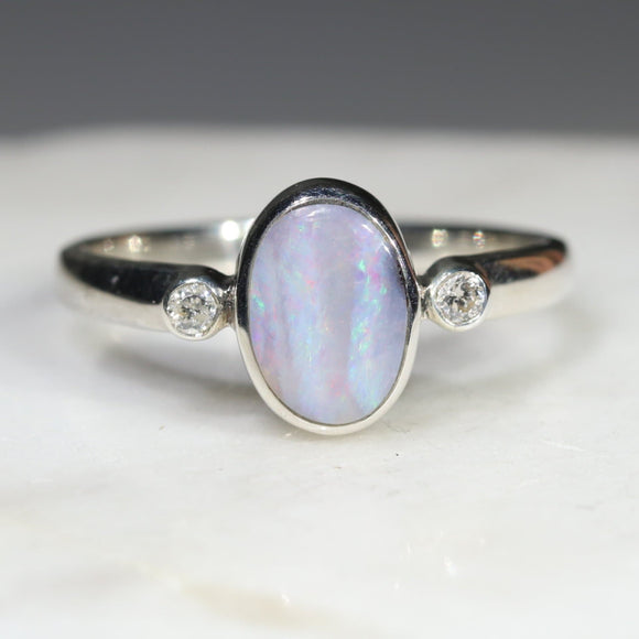 Australian Solid Boulder Opal and Diamond Silver Ring - Size 6.5 Code - SRD72