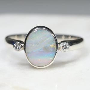 Australian Solid Boulder Opal and Diamond Silver Ring - Size 6.5 Code - SRD70