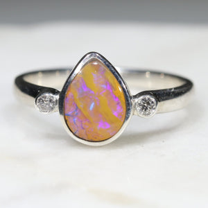 Australian Solid Boulder Opal and Diamond Silver Ring - Size 6.25
