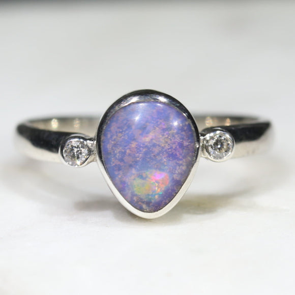 Australian Solid Boulder Opal and Diamond Silver Ring - Size 6.5 Code - SRD68