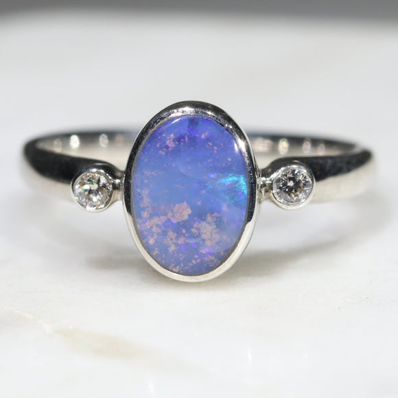Australian Solid Boulder Opal and Diamond Silver Ring - Size 6 Code - SRD87