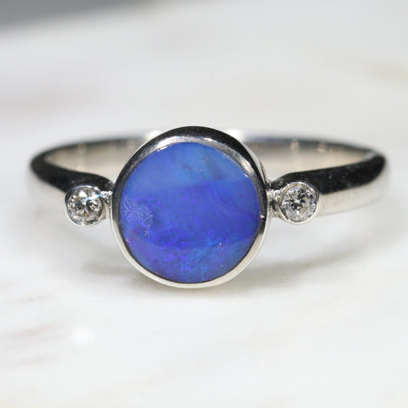 Australian Solid Boulder Opal and Diamond Silver Ring - Size 6.5