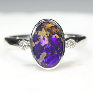 Australian Solid Boulder Opal and Diamond Silver Ring - Size 6 SRD47