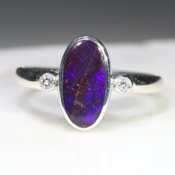 Australian Solid Boulder Opal and Diamond Silver Ring - Size 6 Code -  SRD64