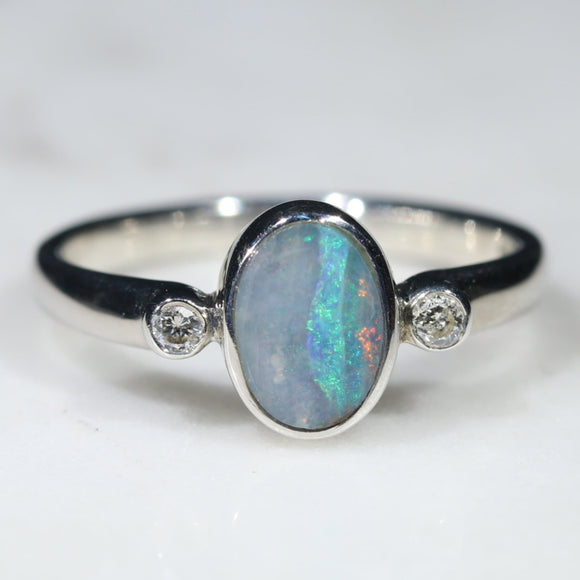 Australian Solid Boulder Opal and Diamond Silver Ring - Size 5.5 SRD62